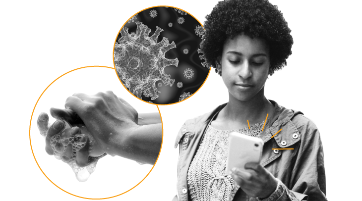 Close-up of hands being washed, close-up of the COVID-19 virus, and image of a woman looking up information on her cell phone