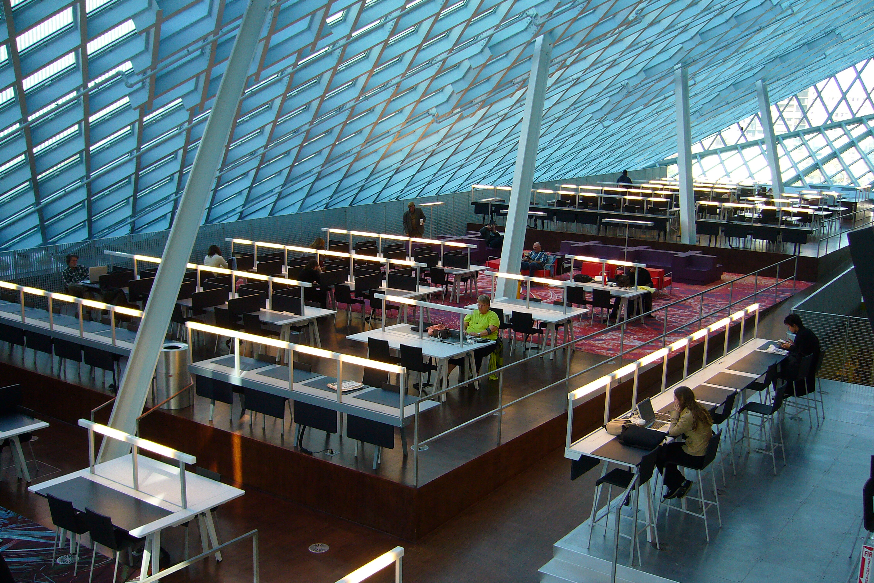 Reading room in the main branch of the Seattle Public Library