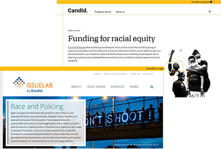 Screenshots of Candid's Funding for racial equity page and Race and Policing collection page.
